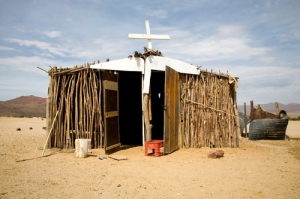 Poor christian church in the desert, north of Namibia 2006.