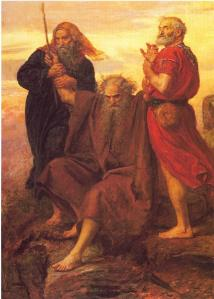 """""""Victory O Lord!"""" John Everett Millais, 1871 [Depicts Moses holding up his arms during the Battle of Rephidim, assisted by Hur (left) and Aaron.]"""