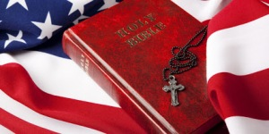 Holy Bible And Cross On American Flag