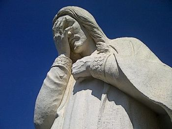 Statue of Jesus Weeping at St. Joseph's Church near the Oklahoma City Bombing Memorial.