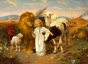 Jesus & animals PEACE by William Strutt, late 1800's