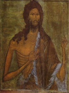 The icon of John the Baptist from Assumption Cathedral of the Ryazan Kremlin. XVI century