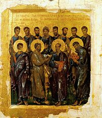 The Synaxis of the Twelve Apostles. Russian, 14th century, Moscow Museum